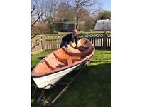 Northeaster Dory 17ft rowing boat with tan sail kit