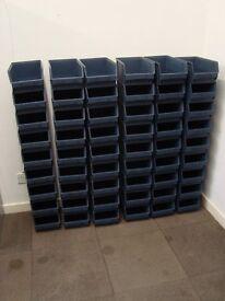 54 x strong plastic stacking Storage boxes/ bins. Picking, packing, workshop or garage. Medium