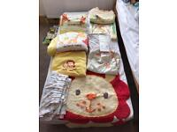 MUST SEE My jungle family Kids bedroom set, cot bumpers, curtains, rug, quilt, changing mat