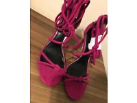 NEXT Ladies Pink Lace up heels NEW cost £35