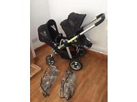 Icandy Double/single pushchair with rain covers excellent condition