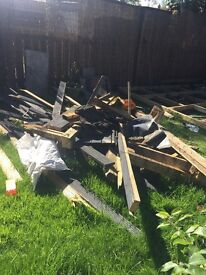 Free wood, old decking and base,