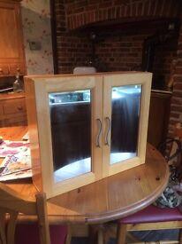 Mirrored Beech Wood Bathroom Cabinet