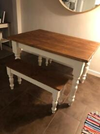 Farmhouse style shabby chic table and benches