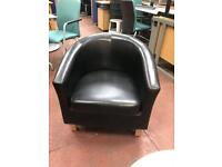 Black Leatherette Tub Chairs - Great Condition
