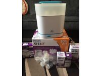 avent electric steriliser, bottles and breast pump
