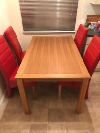 Dining table & 6 red leather chairs