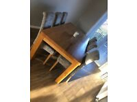 Solid Oak Dining table with 6 truffle fabric chairs