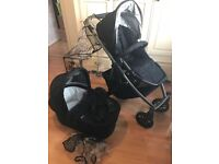 UPPAbaby Vista 2012 Jake black pram - pushchair and carrycot, accessories included