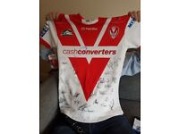 Signed St Helens rugby shirt and 2 signed balls