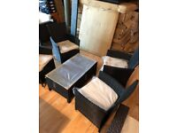 rattan garden furniture - 4 Black chairs and one table