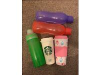 5 Items: Sistema Water Bottle, 2 Tupperware Bottles, Starbucks & Cupcake travel mugs