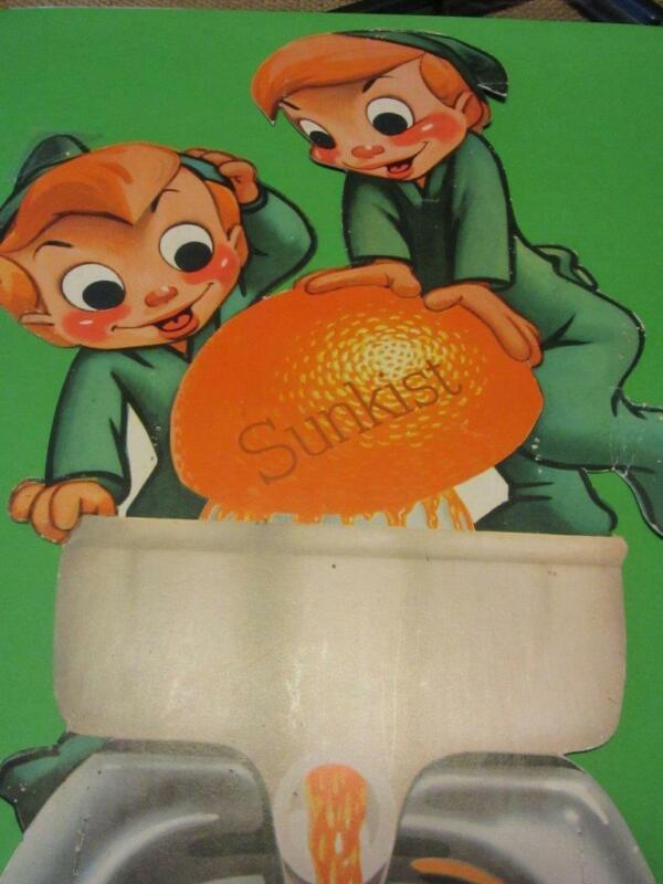 Vintage 1940s - 1950s Sunkist Orange Beverage Litho Sign Antique Soda Cola 10021