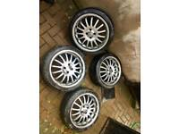 Team dynamic 17 inch alloys 4x100 4 stud fit corsa polo bmw e30 yaris Toyota Vw punto fiat aygo