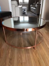 Copper Coffee Table with Glass Top