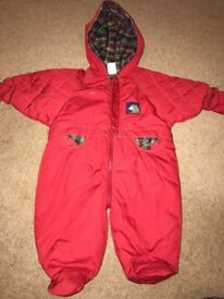 Thick winter coat girl or boy red 0-6 months