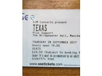 TEXAS tickets x 2. Manchester 28th September. £49.50 per ticket