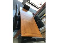 Solid oak dining table and 6 chairs leather chairs