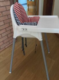 Ikea high chair with back support cushion