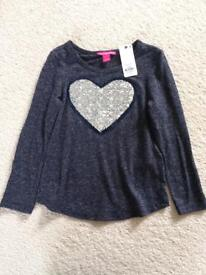 Sequin heart navy tshirt