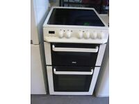 Zanussi ZCV563DW 50cm wide Double Oven Electric Cooker With Ceramic Hob in White