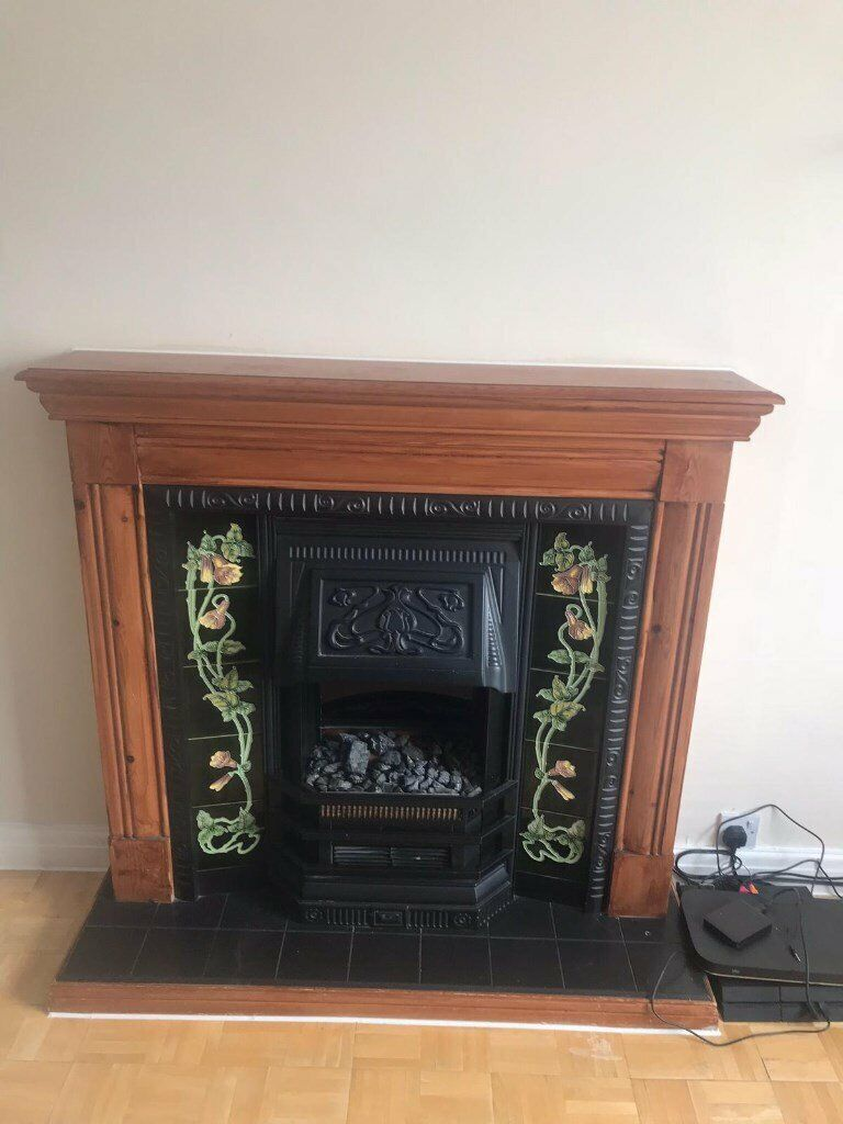 Cast Iron Fireplace With Tiles And Wood Frame Included Collection Only