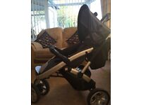 Slivercross Travel system, pushchair, car seat, raincover, changing bag and sun parasol.