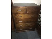 Charming Vintage Solid Wood 2 over 4 Chest Of Drawers