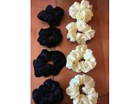 Handmade brand new velvet and yellow scrunchies
