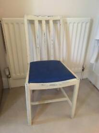 Shabby chic blue & cream chair