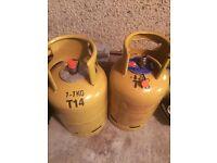 Two 7.5 kg gas bottles empty