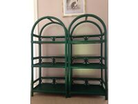 Pair of Cane/Bamboo shelves plus corner unit all in green