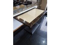 Marble tables with cast iron legs various sizes