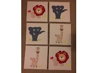 6 jungle animal theme canvasses