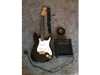 Electric guitar burswood Stratocaster with amp and extras
