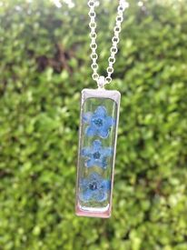 Handcrafted Forget Me Not flower necklace, beautiful gift!