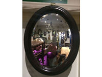 Appealing Antique Victorian Oval Mahogany Framed Decorative Bevel Mirror