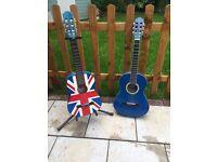 2 junior guitars plus stand (Union Jack & blue)