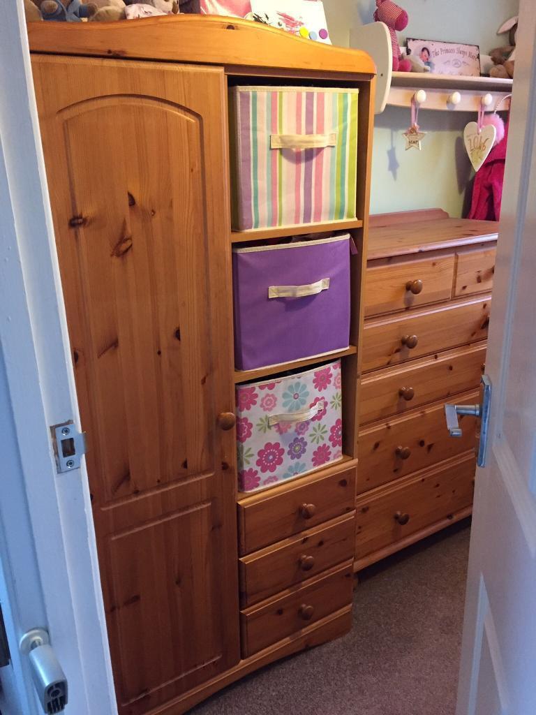 Pine child's wardrobe and drawers