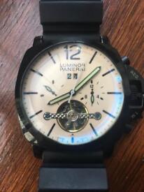 Panerai automatic luminor watch with rubber strap