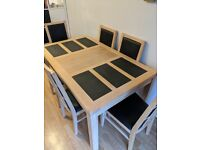 Dining room table and chairs set (Vietnamese Oak and Slate)