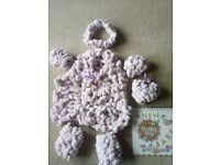 Beautiful unique baby gift set in pink with a lilac hint pompom style wool
