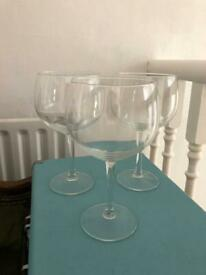 3 Gin Balloon Glasses Perfect Condition