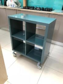 Kallak teal gloss storage unit with wheels