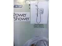 Triton Thermostatic Power Electric Shower White/Chrome finish