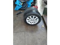 Vauxhall alloys 16 inch 5 stud with 205/55/16 tyres set of 4