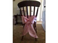 100 Pale Pink Satin Chair Sashes/Bows for Wedding/Christening/Birthday
