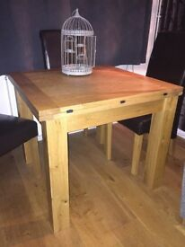 Solid Wood Table & 6 Leather Chairs