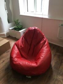 Faux Leather Bean Bag in Red