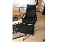 Recliner and swivel chair with footstool